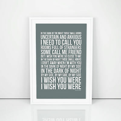 INXS By My Side Lyrics Poster Printed Wall Artwork