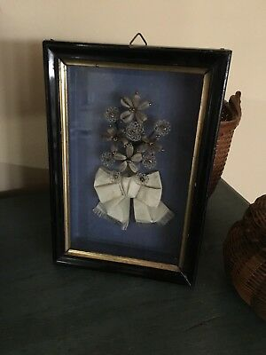 Antique Victorian Human Hair Floral Mourning Picture