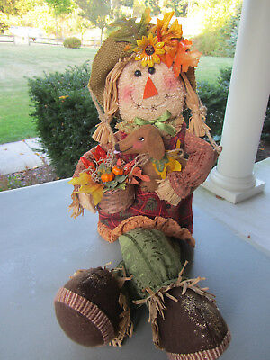 Whimsical Scarecrow with Harvest basket & Red/Brown Dachshund Autumn Decor!