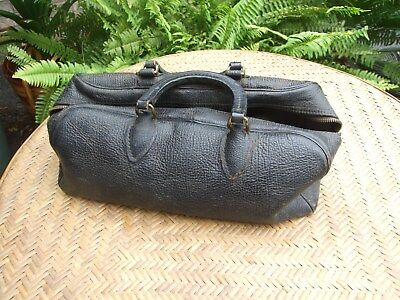Vintage small leather Doctor bag satchel with contents