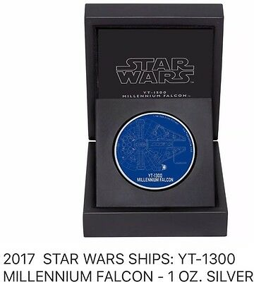 2017 Niue Star Wars YT-Millennium Falcon 1oz. Silver Coin MINT Low Mint. BEST $$