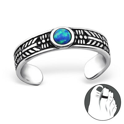 925 Sterling Silver Textured 3mm Blue Opal Toe Ring Adjustable Body Jewellery