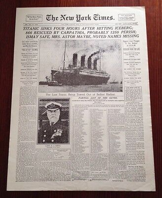 The New York Times Newspaper Front Page Titanic Sinking April 1912