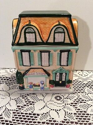 Sherwood Collectible Ceramic Cookie Jar Canister Sweet Shop House Shaped 1999