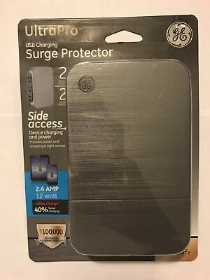 GE ULTRA PRO 2 USB Side Charging Surge Protector w/ 2 plug Outlets, 2.4 Amp NEW