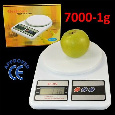 LARGE 1g to 7KG Kitchen Food Scale Electronic Weighing Digital LCD Screen White