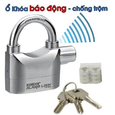 HEAVY DUTY ALARM LOCK Siren Motobike Keyed Lock Bicycle Padlock Security Pad NEW