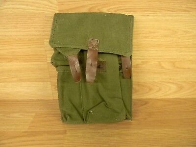 Un-Issued Romanian Military Ak 3 Cell Green Cloth Magazine Pouch  7.62X39