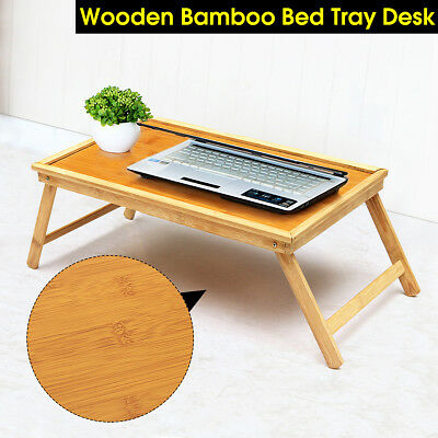 Fold Bamboo Wood  Bed Tray  Breakfast Laptop Desk Tea Serving Table Stand Dinner