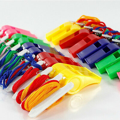 Lot of 24 Plastic Whistle & Lanyard Emergency Survival  High Quality Useful EV