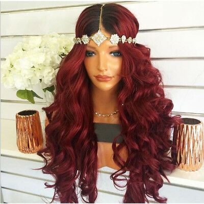 "24"" Heat Resistant Lace Front Wig Synthetic Hair Long Wavy Ombre Color 1B/Bug"