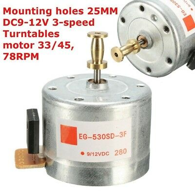 25MM Mounting Holes DC 9-12V Turntables 33/45,78RPM For 3-speed Gramophone Motor