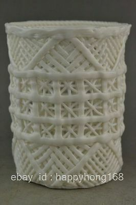 Rare Old Collectible Decoration White Porcelain Hollow Out Usable Brush Pot NR