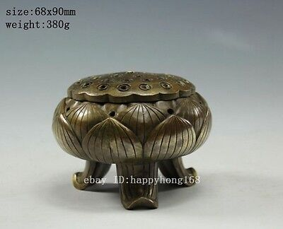 Chinese Old Decorated Handwork Copper carved china brass lotus incense burner