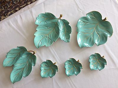 Set of 6 Carlton Ware Turquoise w/Gilt Leaf Style Serving Dishes