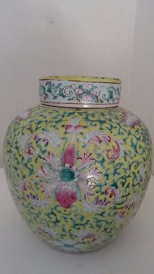 kangxi antique vase ginger jar chinese porcelain enameled lidded flower ring bat