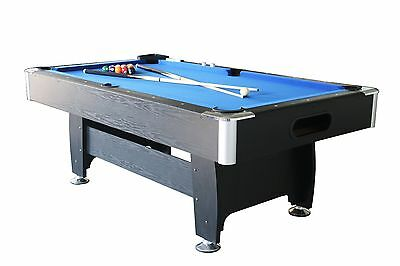 New 8Ft Modern  Mdf Blue Pool Table Snooker Billiard With Free Accessory Kit