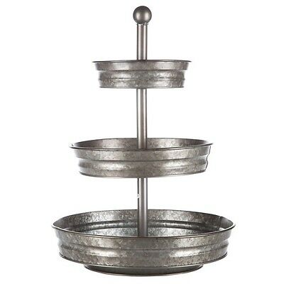 1x3 Tier Galvanized Round Metal Stand Outdoor Indoor Food Trey Fruits/Veggies