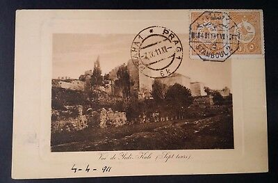 """SCARCE 1911 Turkey Postcard """"View of Yedikule"""" tie 2 Tughra stamps canc Istanbul"""