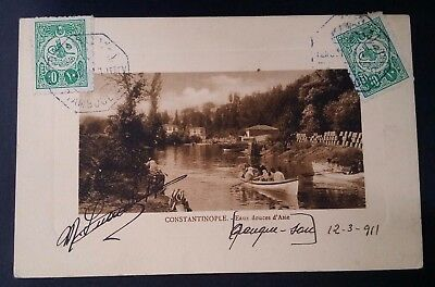 """SCARCE 1911 Turkey Postcard """"Constantinople"""" ties 2 Tughra stamps canc Istanbul"""
