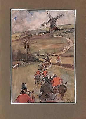Windmill.Hat raised.1908.Hunting.Countryside.Hunt.Horse.Hounds.Dog.Art.Artist