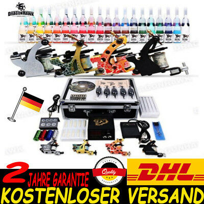 Tätowierung Komplett Tattoo Kit Set 4 Tattoomaschine 40 inks Koffer 50 Nadeln