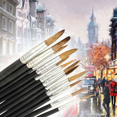 12x New Artist Paint Brushes Pointed Set Watercolor Oil Painting Acrylic Drawing