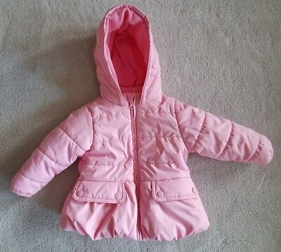 BABY GAP Toddler Girls Pink Hooded Puffy Coat Jacket Size 18-24 Months