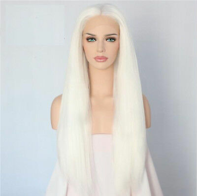 "24"" Long Straight White Lace Front Wig Heat Resistant Synthetic Hair"
