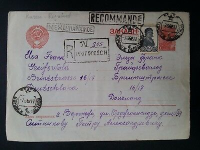 1952 Soviet Union Registd Cover ties 2 stamps canc Voronezh to Germany