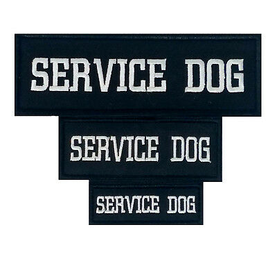 White Embroidered Service Dog Patch Label Tag For Dog Harness Collar Vest