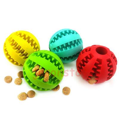 Rubber Ball Chew Treat Dispensing Pet Dog Puppy Cat Teething Training Dental Toy