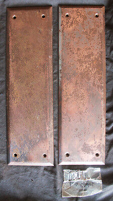 "Cleaned Pair 3.5""x12"" Antique Vintage Steel Metal Door Beveled Push Finger Plate"