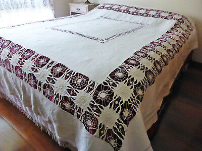 """Antique Large Heavy Linen Tablecloth-Bedcover-Elaborate Tenerife Needlelace-96"""""""