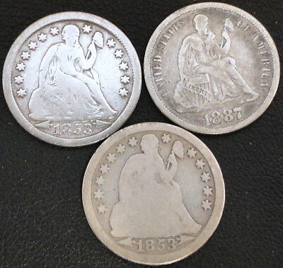 1853, 1853,1887-S Seated Liberty Dime Lot (#4)