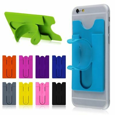 Universal Silicone Stick Credit Card Holder Slot Stand Shell Case For Phone Cell