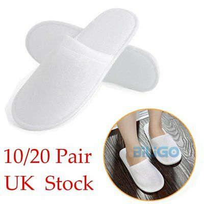 10/20 Pairs White Closed Toe Hotel Slippers Spa Shoes Disposable UK Stock