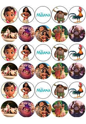 30 x Moana Mini Cupcake Edible Wafer Cake Toppers
