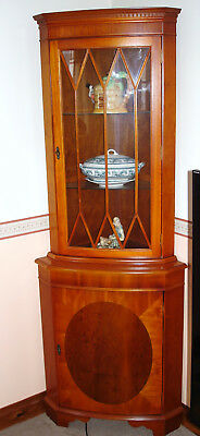 Corner China Cabinet, Yew (delivery option for Sheffield)