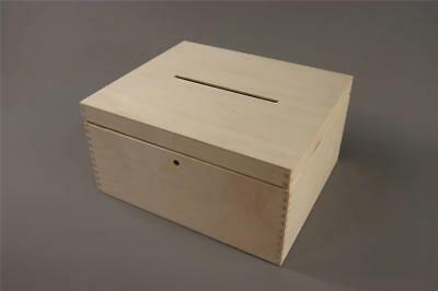Lockable Plain Wooden Box Wedding Cards Post Box Storage Unit Gift (P29/15sz)
