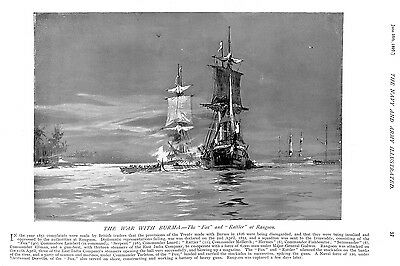 War with Burma.Fox.Rattler.Rangoon.1897.Irrawaddy.Military.War.Shipping.Naval