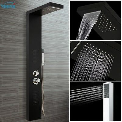 Shower Tower Panel Waterfall & Massage Jets with Hand Shower Rain Column Wall