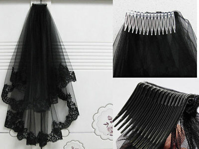 2T Black Lace Cathedral Birdcage Wedding Bridal Mantilla Gothic Veil with Comb