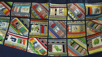 Handmade Patchwork QUILT Upcycled Embroidered Single Size Aprox See Description