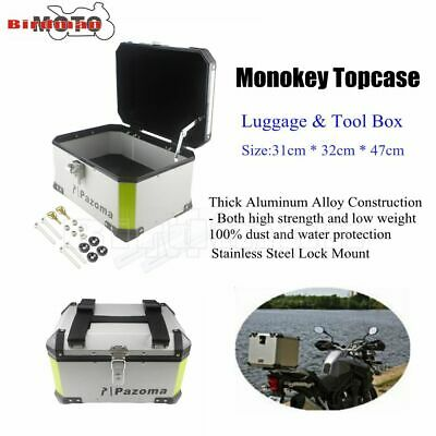Silver Aluminum Rear Outback Monokey Storage Top Case Luggage Boxes Pazoma Hot