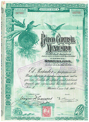 Banco Central Mexicano, Mexico 1908, uncancelled/ coupons