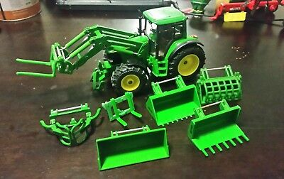 1/32 scale siku model john deere 6820 tractor with loader and attachments pack