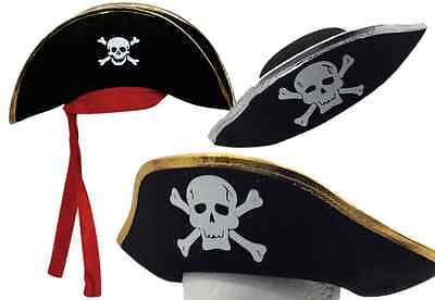 1x Pirate Captain Hat Skull Crossbone Cap Costume Fancy Dress Party Halloween