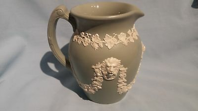 Rare Victorian Dudson England Green Jasperware Club Jug 15Cm Lion Heads Swaging