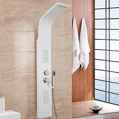 Modern White Shower Panel Multi-function Bathroom Tub Wall Mounted Mixer Tap SPR
